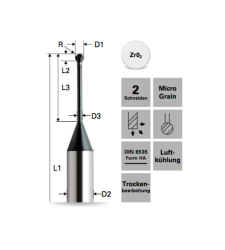 Kugelfräser (Lollipop) für Zr02 – Diamantbeschichtet ***
