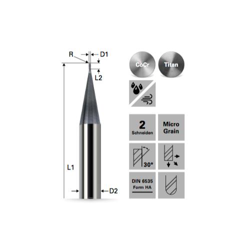 Stirnradiusfräser KONISCH für Kobalt-Chrom/TITAN BALINIT X.CEED beschichtet