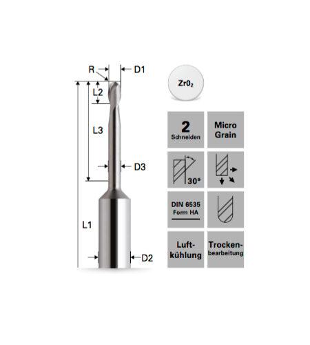 Stirnradiusfräser für Zirkonoxid (unbeschichtet **)