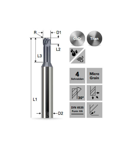 Torusfräser Doppelradius für Kobalt-Chrom/Titan – BALINIT® X.CEED beschichtet