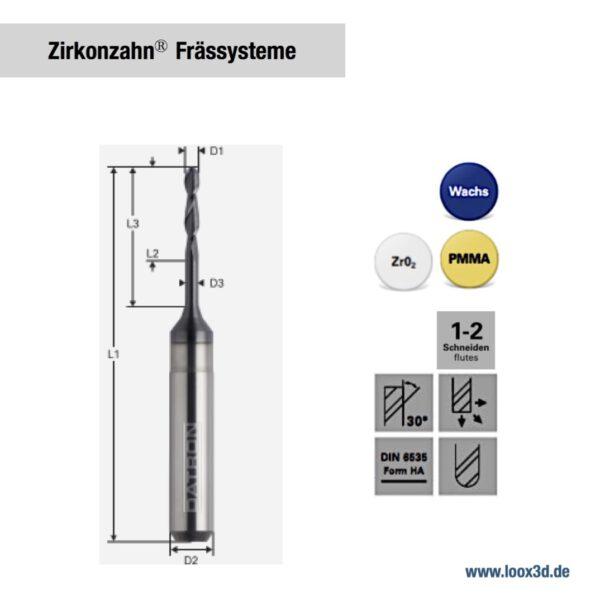 Fräswerkzeuge kompatibel zu Zirkonzahn Frässysteme