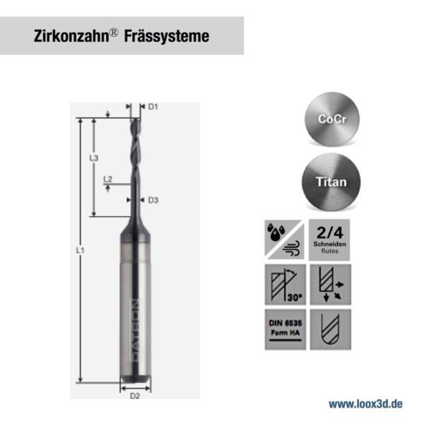 Fräswerkzeuge kompatibel mit Zirkonzahn Frässysteme