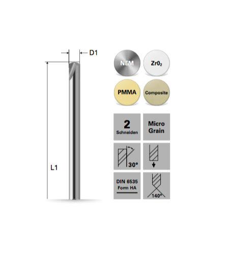 Zentrierbohrer für NEM,Zr02, PMMA, Composite